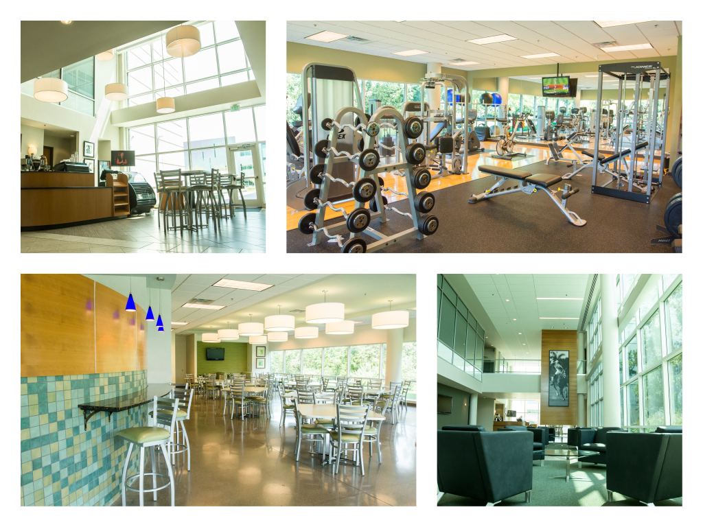 Various amenites at The Rawlings Group, cafe, sitting area, exercise room